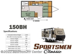 New 2017  K-Z Sportsmen Classic 150BH by K-Z from Bourbon RV Center in Bourbon, MO