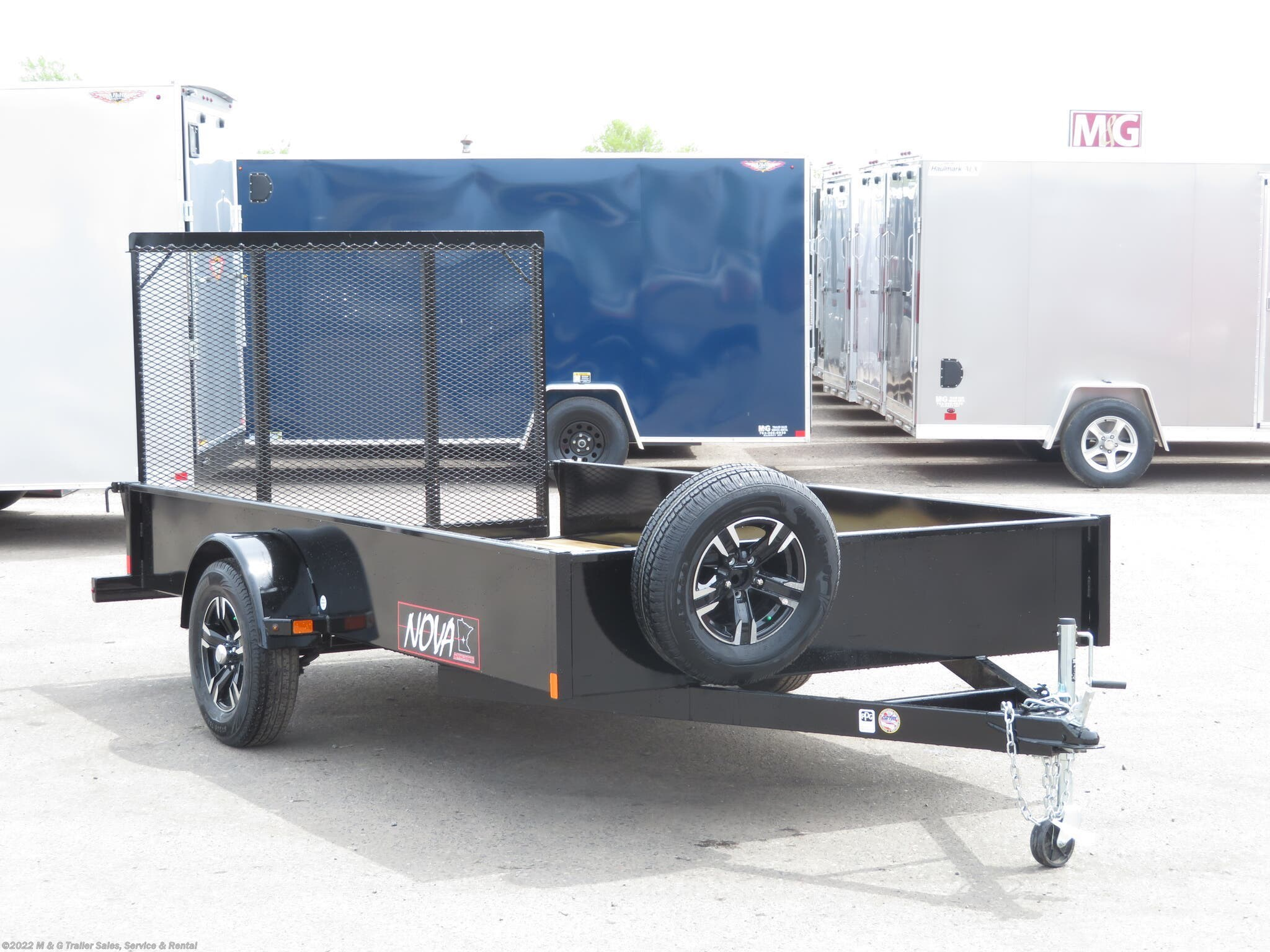 "2021 Midsota 77""x12' Rail Side Utility Trailer - Black - Stock #000629"