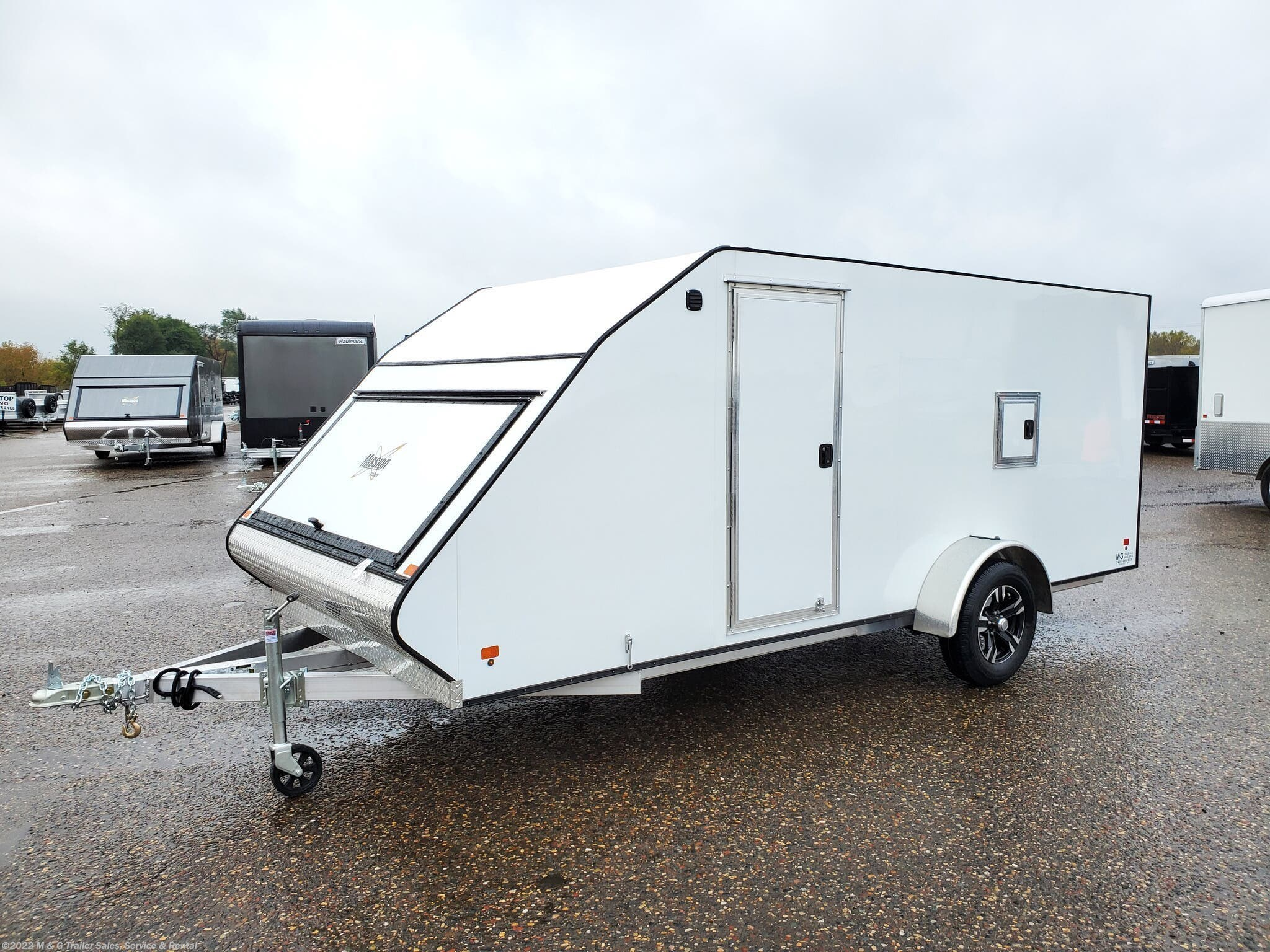 2020 Mission Trailers 7x16 Low Pro Enclosed Snowmobile Trailer - White - Stock #013897