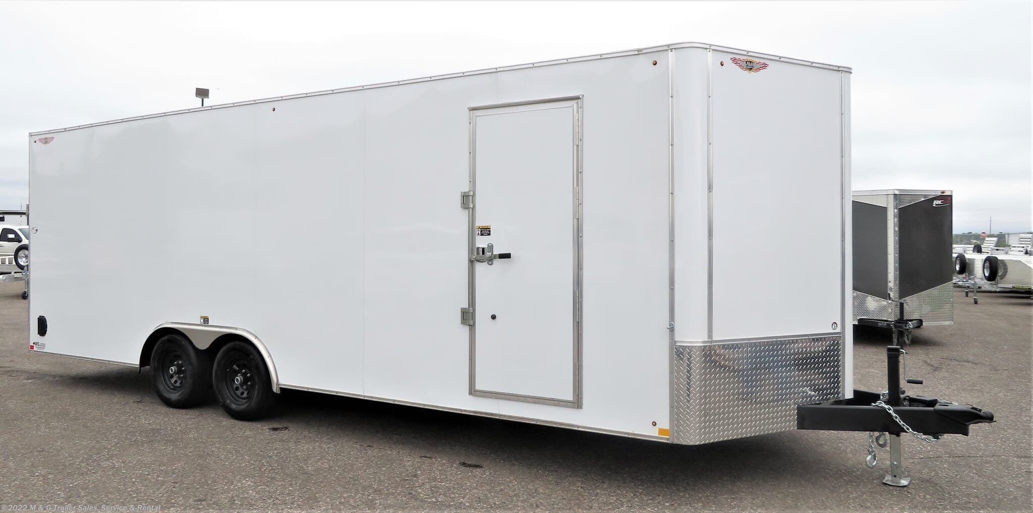 2021 H&H 8.5x24TA Enclosed 7' Int Car Hauler -V-Nose- White - Stock #545782