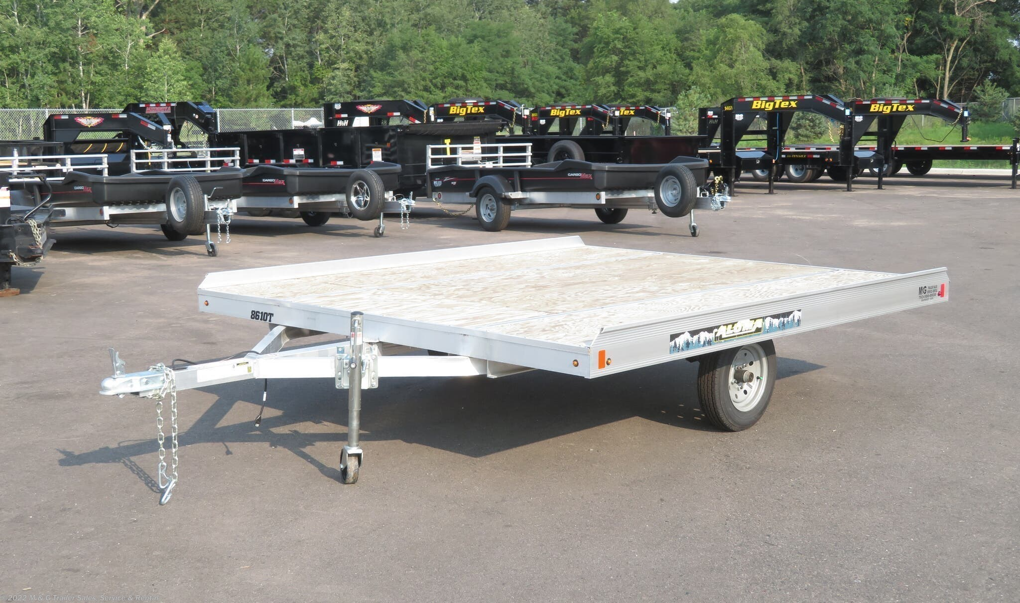 2021 Aluma 8610T Aluminum Tilt Bed Snowmobile Trailer - Stock #229477