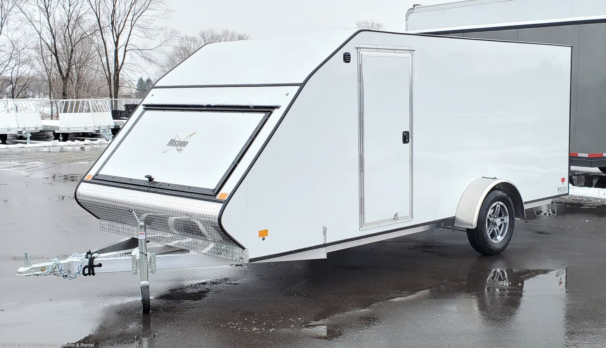 2021 Mission Trailers 7x16 Low Pro Enclosed Snowmobile Trailer - WHITE - Stock #016129