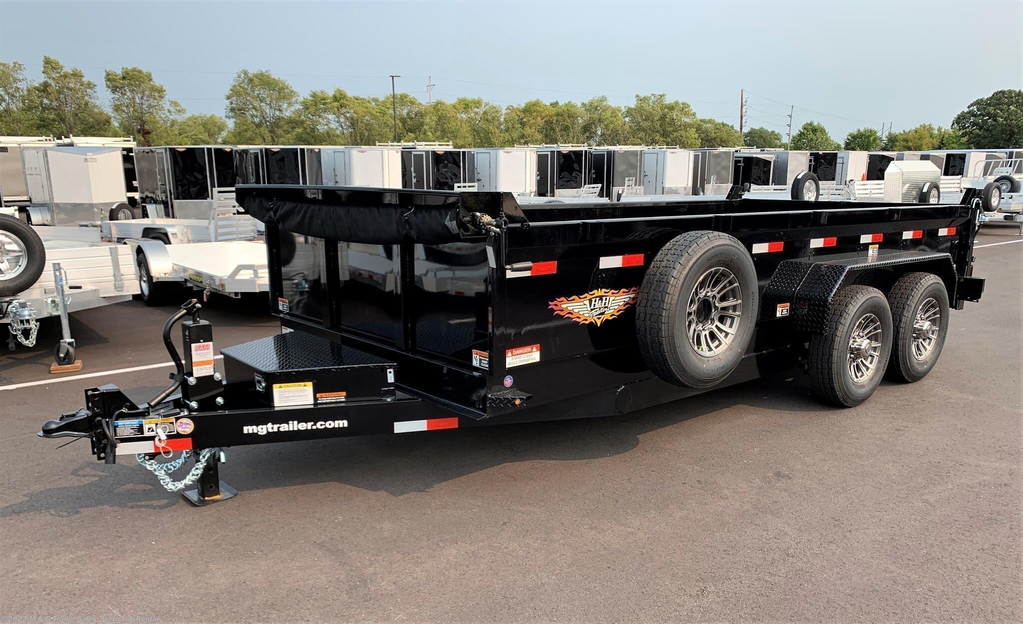 2022 H&H 83''X16' Dump 7GA - Black - Stock #564041