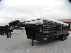 2020 W-W Trailer 6'8x24' Gooseneck Stock Trailer-RUBBER FLOOR!